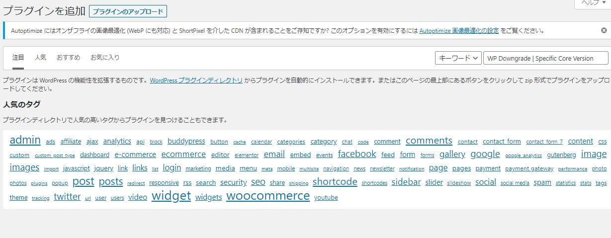 WP5.5のプラグイン検索画面